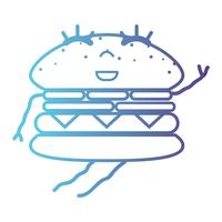 linea kawaii cute happy hamburger fastfood