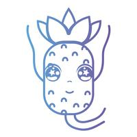 linea kawaii cute happy ananas fruit