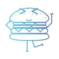 line kawaii cute happy hamburger fastfood