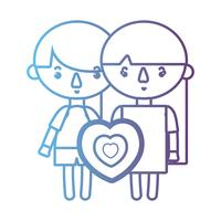 line children together with heart design