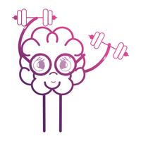 line brain kawaii with dumbbells object