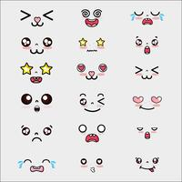 set kawaii cute faces expression