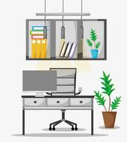 office flat with desk and work accessories