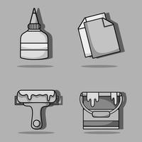 set art and craft creative objects vector