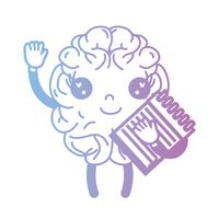 line kawaii happy brain with notebook tool