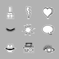 set fashion pop art patches design