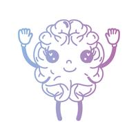 line kawaii cute happy brain with arms and legs