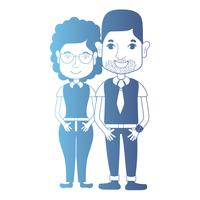 line avatar couple with hairstyle and clothes