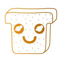 line kawaii cute happy slice bread