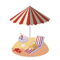 Playa de arena de verano con sombrilla y silla.