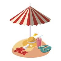 sommarsandstrand med paraply och stråhatt