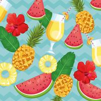 tropical drink and fruits vector