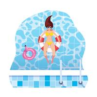 woman with swimsuit and lifeguard float floating in water
