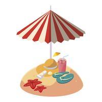 Playa de arena de verano con sombrilla y sombrero de paja.