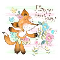 Cute Fox with flowers vector
