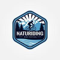 Logotipo de bicicleta de equitação natural