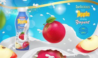 Manzana roja cayendo en salpicaduras de yogur