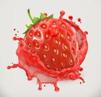 Strawberry with juice splash