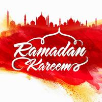 Stylish text with Mosque for Ramadan Kareem.