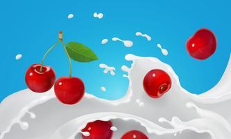 Spruzzata di yogurt o gelato che si fonde con bacche rosse