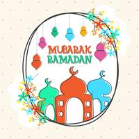 Greeting card design for Ramadan Mubarak.