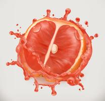 Grapefruit and juice splash