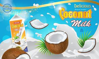 White milk and coconuts floating in cream