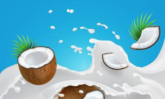 Milk splashing liquid and coconut