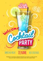 Blue Cocktail party poster in eclectic modern style