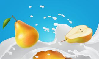 Pear and milk splash. Yellow pear fruit floating in cream yogurt