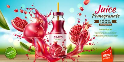 realistic pomegranate juice bottle splash a