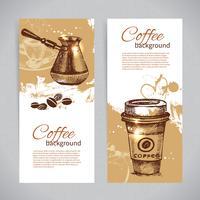 Banner set vintage koffie achtergronden. Menu voor restaurant