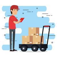 trabajador de la entrega con el carro cajas de caracteres