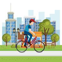 trabajador de la entrega en el carácter de la bicicleta