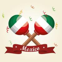 instrumento de festival de maracas mexicano vector