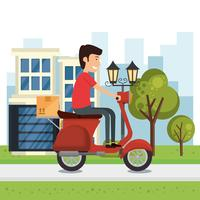 trabalhador de entrega com caráter de motocicleta