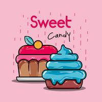 sweet cupcakes with pink and blue icing vector