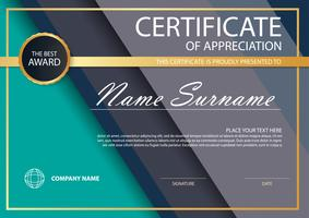 Grönt elegant horisontellt certifikat