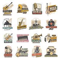 Instrumento musical, disco de vinilo, iconos de micrófono.