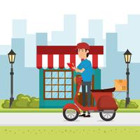 delivery worker with motorcycle character