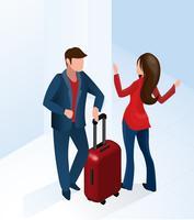 Receptionist donna benvenuto turista con la valigia