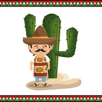 mexican man character with culture icons