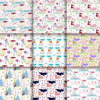Natural Seamless Patterns Summer Flat Backgrounds