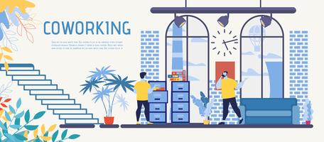 Coworking Center Office Flat Vector Ad Banner