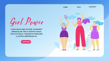 Girl Power Horizontal Banner mit Textfreiraum.