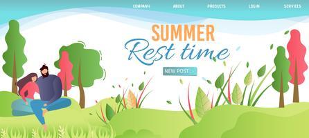 La página de destino anuncia el tiempo de descanso de verano en la naturaleza vector