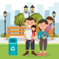 Family the park with recycling bin