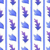 Exotische plant tussen strepen naadloos patroon