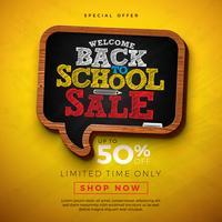 Tillbaka till skolans försäljningsdesign med svart tavlabakgrund.