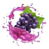 Red grape juice splash realistic